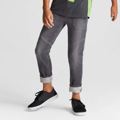 Boys' Knit Moto Skinny Denim Dark Gray