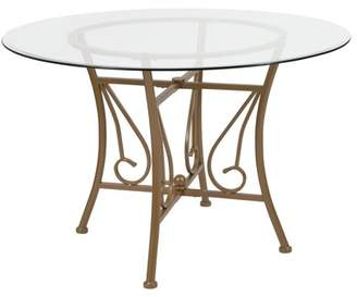 Flash Furniture Princeton 45'' Round Glass Dining Table with Matte Gold Metal Frame