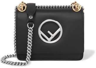 Fendi Kan I Mini Leather Shoulder Bag - Black