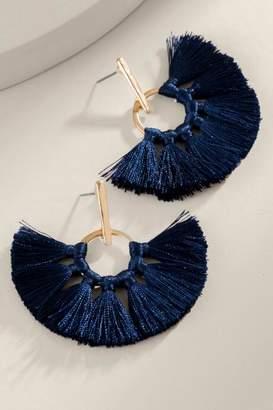 Jill Metal Bar Tassel Earrings - Navy