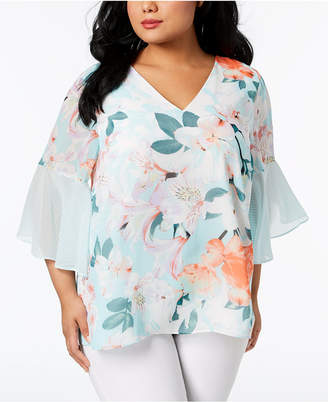 Calvin Klein Plus Size Mixed-Print Bell-Sleeve Tunic