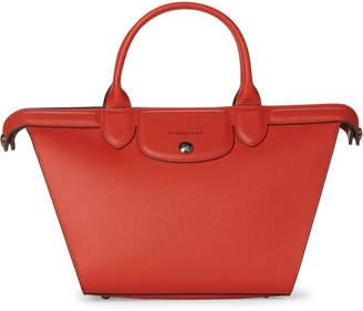 Longchamp Orange Le Pliage Heritage Medium Leather Satchel