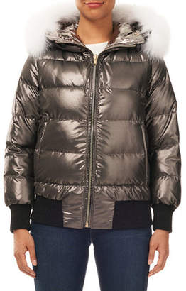 Gorski Reversible Quilted Puffer Bomber Jacket w/ Detachable Fox Hood Trim