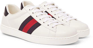 Gucci Ace Watersnake-Trimmed Leather Sneakers - Men - White