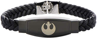 Star Wars FINE JEWELRY Rebel Symbol Mens Stainless Steel and Braided Leather Bracelet