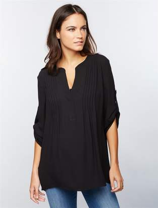 BCBGMAXAZRIA Pea Collection Pleated Convertible Sleeve Maternity Blouse
