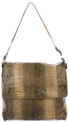 Bottega Veneta Python Fold-Over Shoulder Bag
