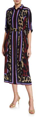 Diane von Furstenberg Sogol Striped Leopard-Print Shirt Dress
