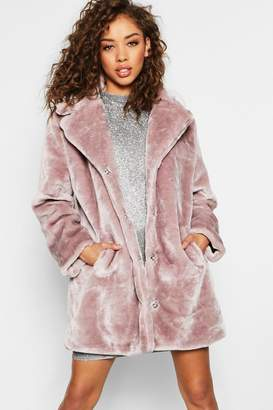 boohoo Faux Fur Collared Coat