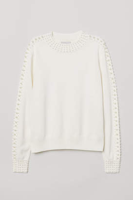 H&M Bead-embroidered Sweater - White