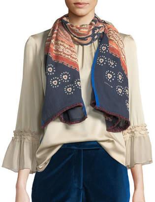 Etro Wool-Silk Paisley & Dot Scarf