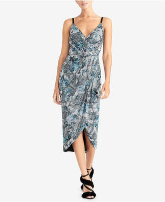 Rachel Roy Printed Sequined Wrap Midi Dress