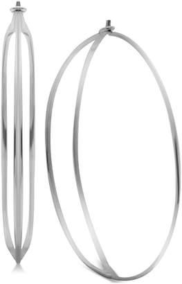 Essentials Double Row Large Hoop Earrings in Fine Silver-Plate
