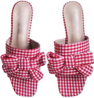 'Valentina' Bow Gingham Slip-on Heels Sandals