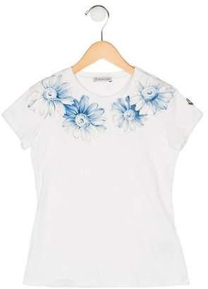 Moncler Girls' Floral Print Short Sleeve Top