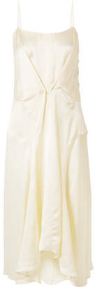 Carven Gathered Satin Midi Dress - Cream