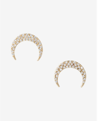 Express Gold Embellished Moon Stud Earrings $12.90 thestylecure.com