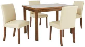 Very Morris 120-150 cm Solid Wood Extending Table + 4 Chairs - Cream/Walnut