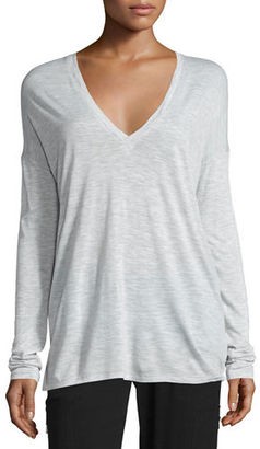 Vince Long-Sleeve Wide V-Neck T-Shirt $125 thestylecure.com