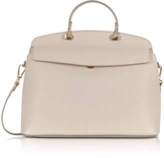 Furla Vanilla Leather My Piper Medium Top Handle Satchel Bag