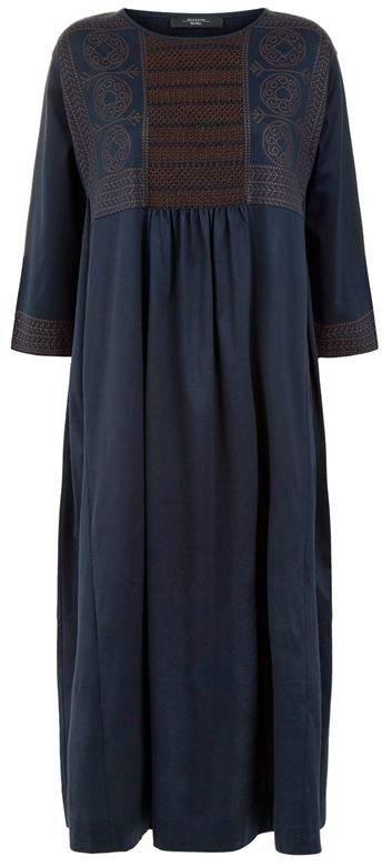 Embroidered Midi Smock Dress