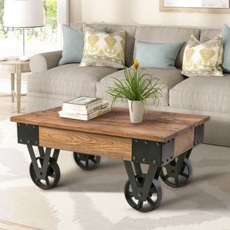 Harper&Bright Designs Solid Wood Coffee Table with Metal Wheels