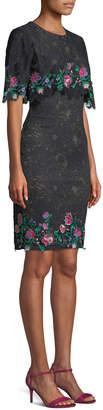 Tadashi Shoji Lace Popover Dress w/ Floral Embroidery