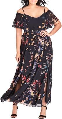 City Chic Sensai Cold Shoulder Maxi Dress