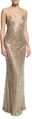 Galvan Sequined Cami Gown, Champagne