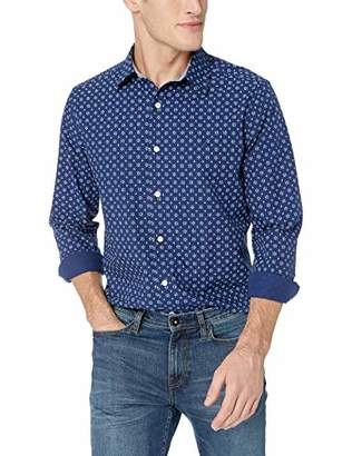 Nautica Men's Ls Wrinkle Resistant Stretch Poplin Print Button Down Shirt