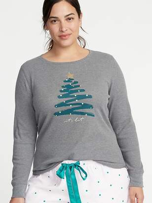 Old Navy Slim-Fit Plus-Size Christmas Graphic Thermal-Knit Tee