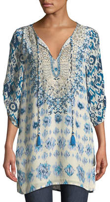 Tolani Ingrid Long Easy Embroidered Cupro Tunic