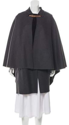 Valentino Wool and Suede Knee-Length Cape w/ Tags Grey Wool and Suede Knee-Length Cape w/ Tags