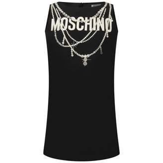 Moschino MoschinoGirls Black Diamante Necklace Print Dress