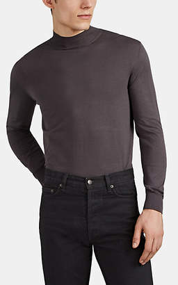 The Row Men's Sean Fine-Gauge Silk-Cotton Mock-Turtleneck Sweater - Dark Gray