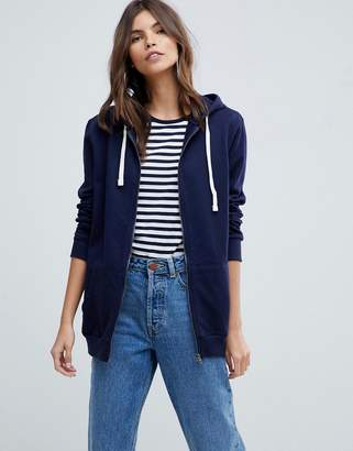 Asos DESIGN zip through hoodie in navy