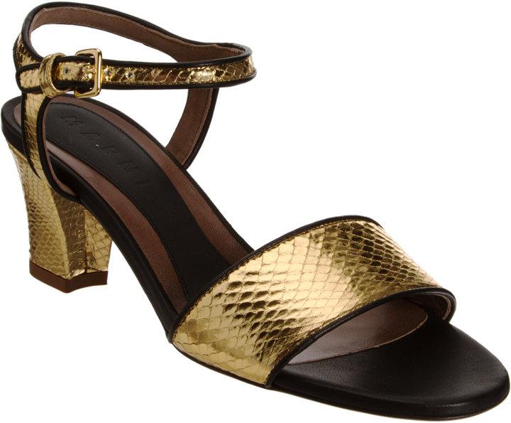 Marni Metallic Snakeskin Sandal