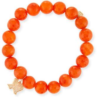 Sydney Evan Carnelian Bead & 14k Texas Charm Bracelet