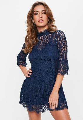 Missguided Navy Lace Frill High Neck Shift Dress, Blue