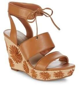 424 Fifth Sage Leather Platform Wedge Sandals