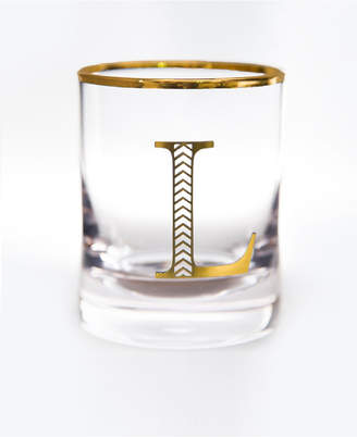 Qualia Glass Monogram Rim and Letter L Double Old Fashioned Glasses, Set Of 4
