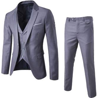 UNINUKOO Men's One Botton Slim Fit Casual Suit Jackets Waistcoat&Pants 33 (Label Size L) Light Grey