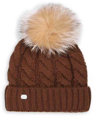 Soia & Kyo Amalie Cable-Knit Fox Fur Wool-Blend Toque