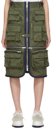 Sacai Khaki Gabardine Pocket Skirt