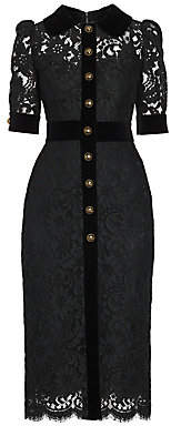 Dolce & Gabbana Women's Lace & Velvet Button-Front Dress
