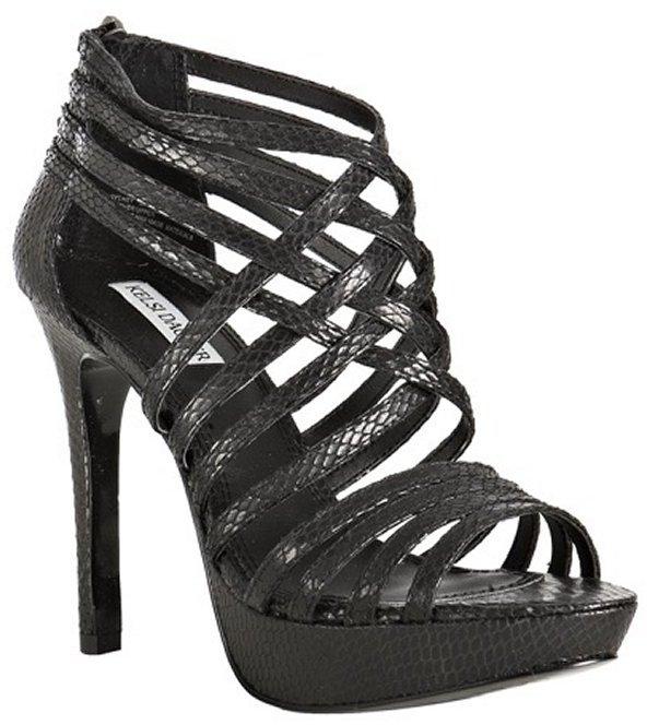 Kelsi Dagger black snake printed 'Sydney' platform sandals