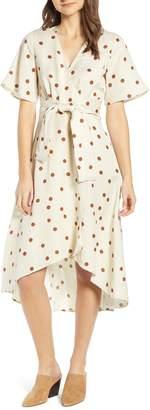 Moon River Polka Dot Linen Blend Midi Wrap Dress