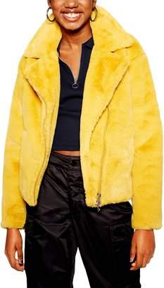 Topshop Lily Faux Fur Biker Jacket