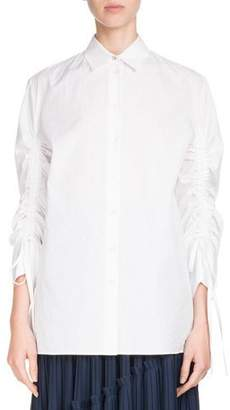 Kenzo Button-Front Drawstring-Sleeve Poplin Shirt