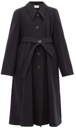 Lemaire Belted Wool Canvas Coat - Womens - Navy